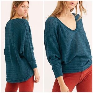 Free People Thien's Hacci Top In Teal Night